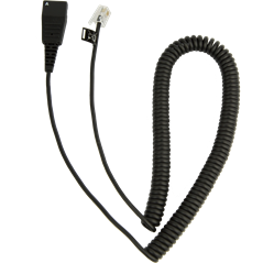 Jabra Quick Disconnect (QD) to Modular (RJ) Coiled Bottom Cord, 2 meter